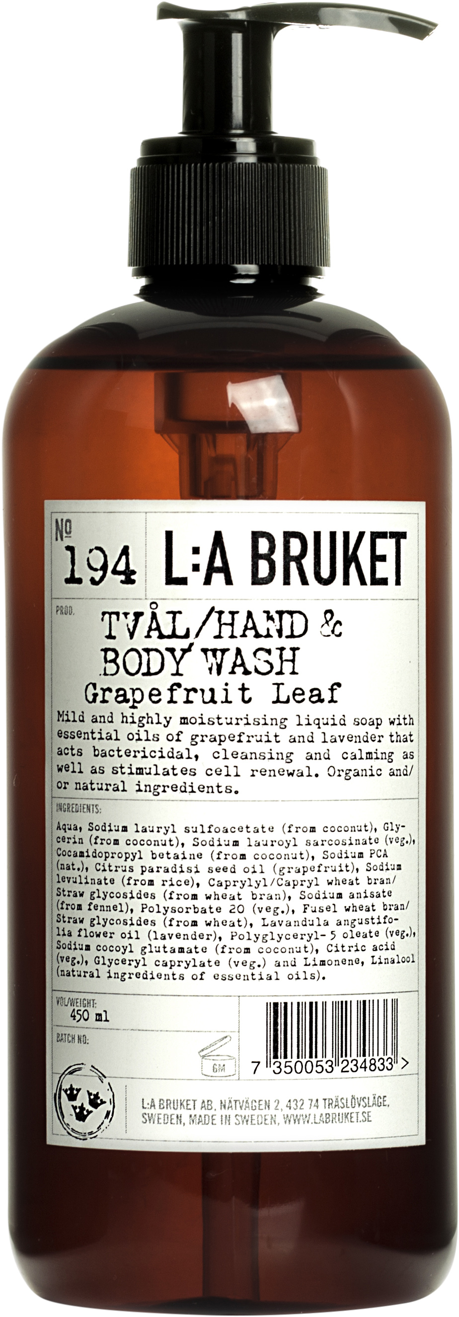 l:a bruket grapefruit hand & body wash