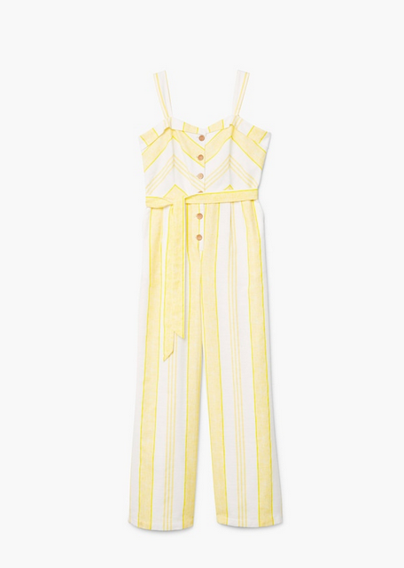 Striped cotton jumpsuit mango