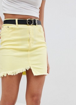 PrettyLittleThing Frayed Edge Denim Mini Skirt