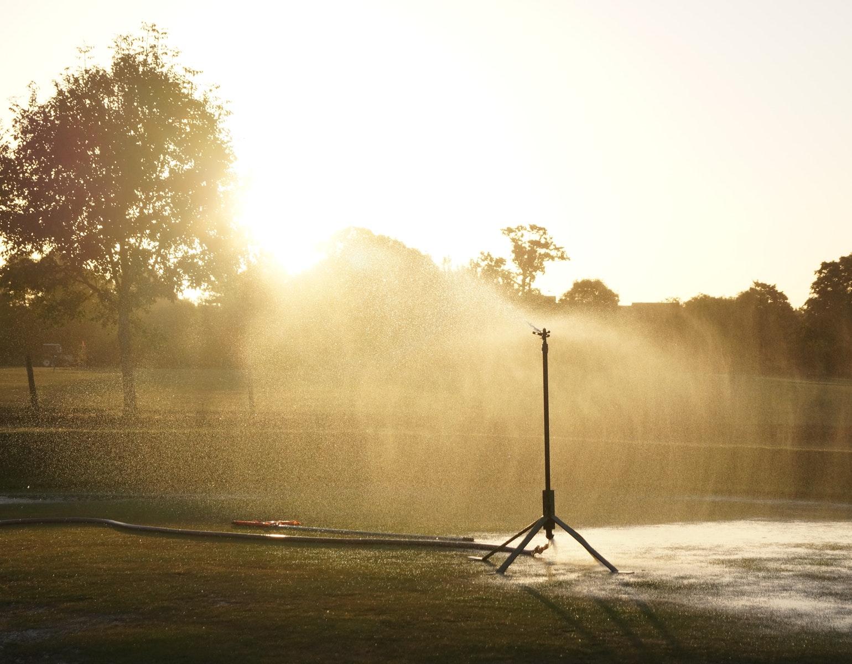 Sprinkler, vand, vande, vander, vanding, sommer, varme, tørke, danmark, græsplæne, græs