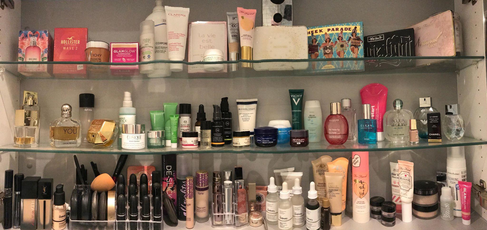 beautyprodukter, samling, indkøb, shopping, skønhed, skønhedsprodukter, beautyblogger, parfume, makeup, creme, råd, organisering