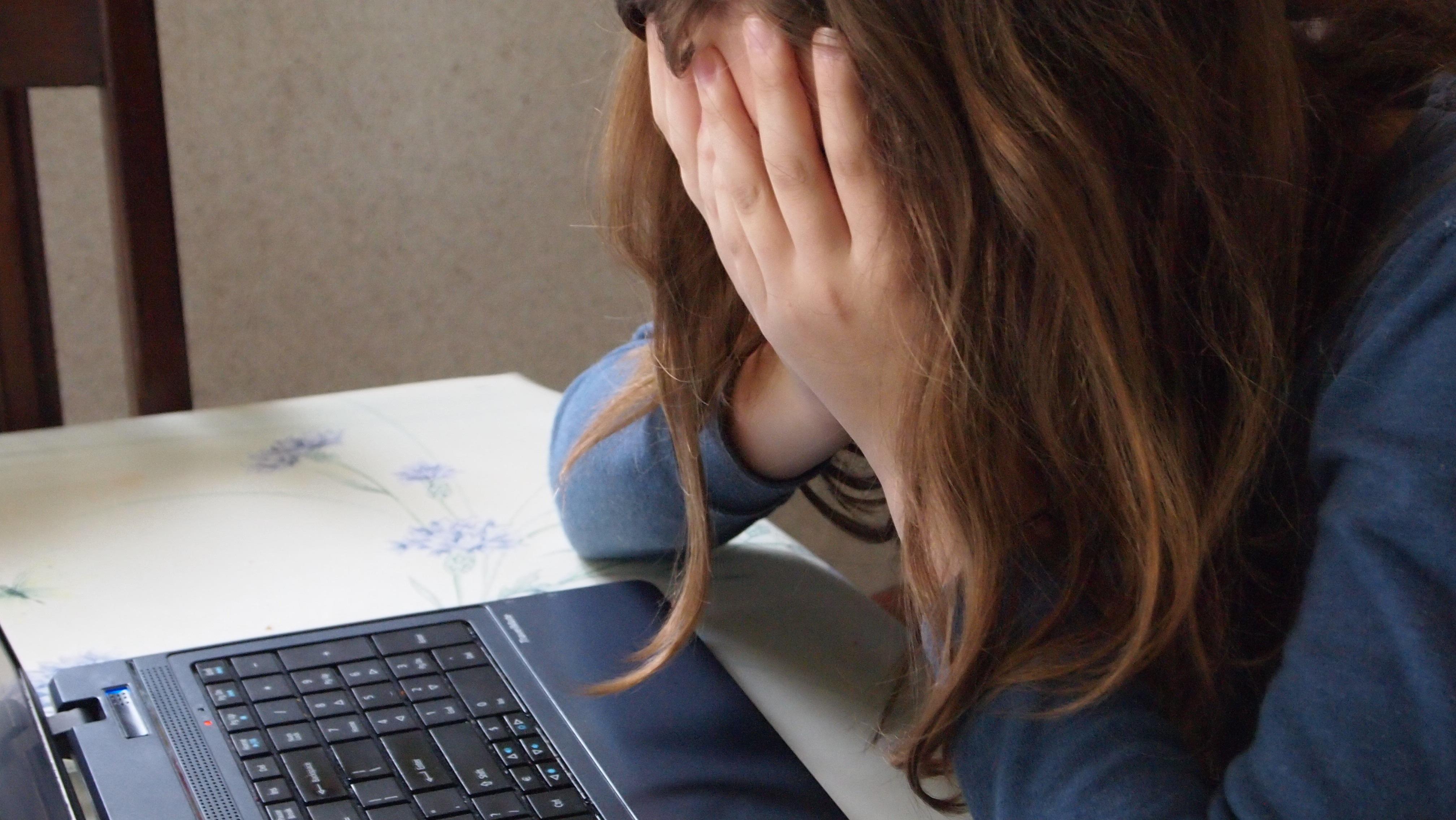 trist ked af pige computer arbejde skole (Foto: Pxhere)