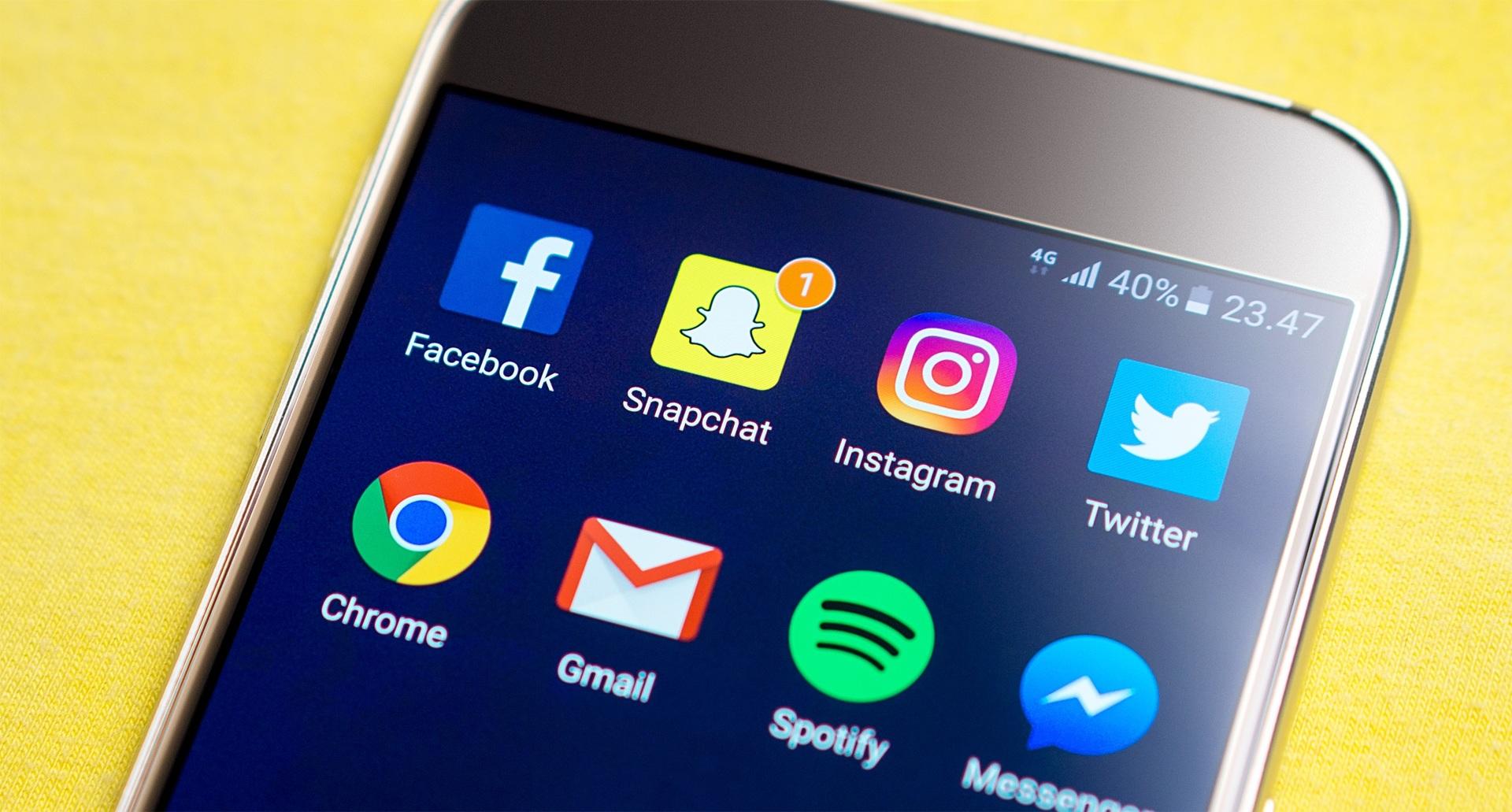 Snapchat, smartphone, telefon, app, apps, sociale medier, some, facebook, instagram, twitter