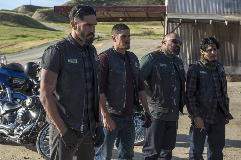 "MAYANS M.C. -- ""Escorpion/Dzec"" -- Season 1, Episode 2 (Airs Tuesday, September 11, 10:00 p.m. e/p) Pictured: Clayton Cardenas as Angel Reyes, JD Pardo as EZ Reyes, Vincent Rocco Vargas as Gilberto ""Gilly"" Lopez, Richard Cabral as Johnny ""Coco"" Cruz. CR: Prashant Gupta/FX"
