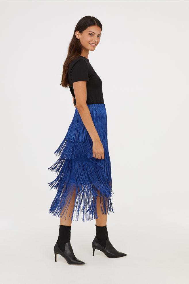 h&m nederdel frynser koboltblå