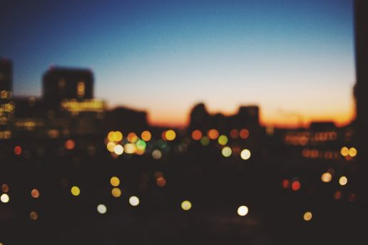 Storbyen, byen, lys, aften, nat