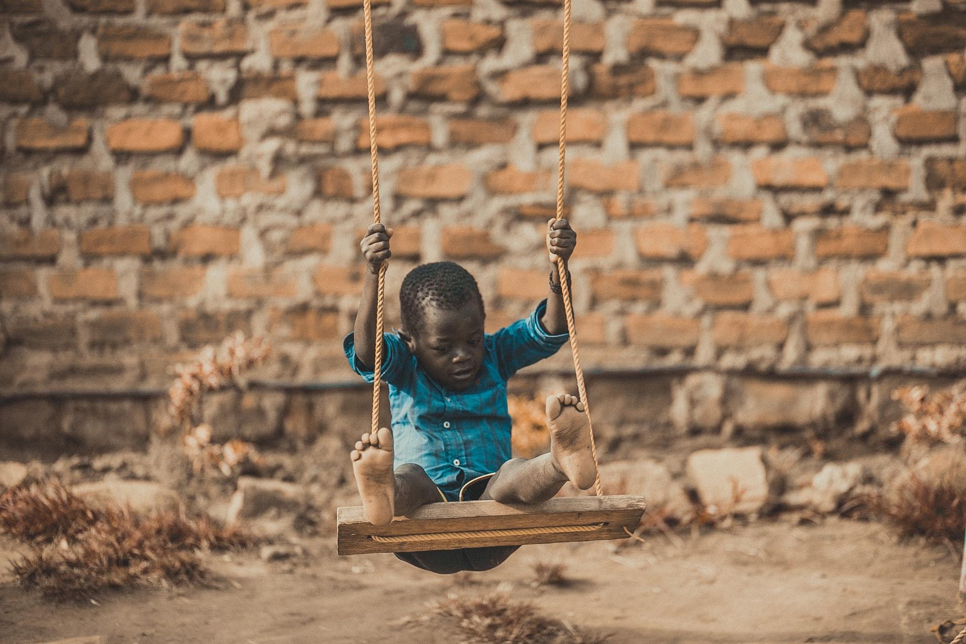 Tanzania, afrika, sygdom, barn, gynge, fattigdom, fattig