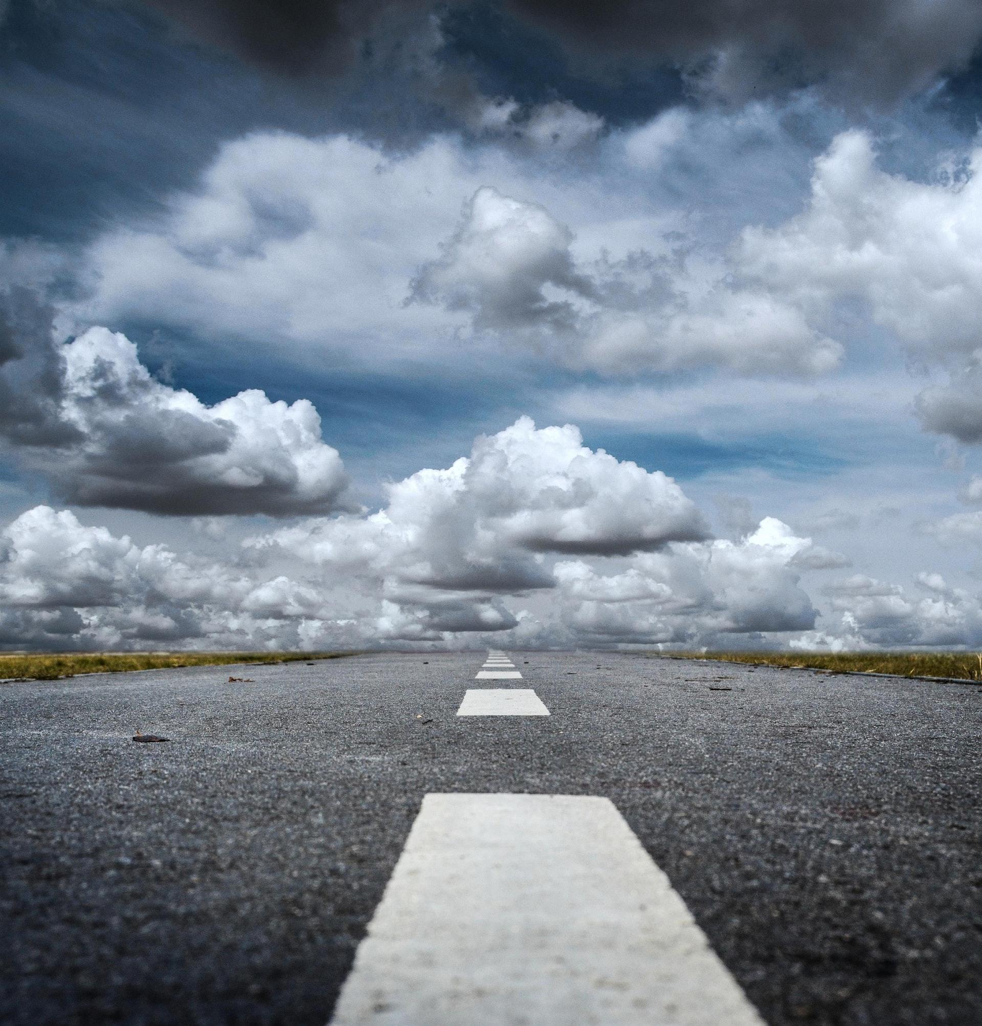 Vej, bil, trafik, kør, kørsel, bilist, natur, skyer, himmel