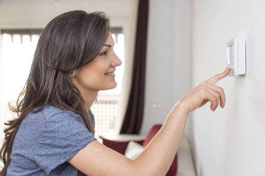 kvinde, klima, pige, glad, hjem, hus, bolig, co2