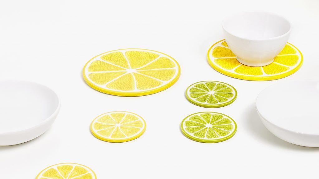 citron bordskåner indretning borddækning