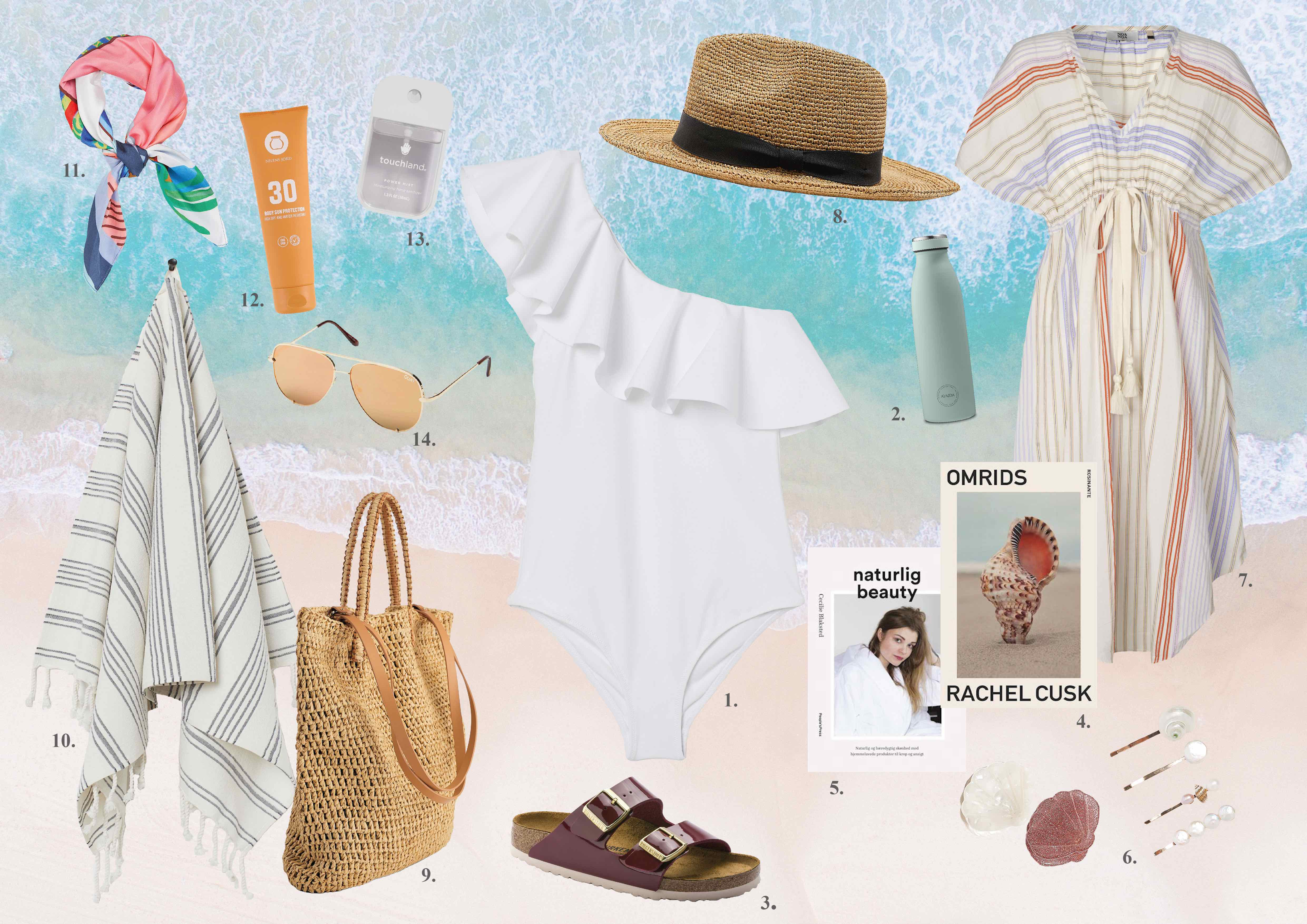 Kollage, collage, et look en badedragt, sommeroutfit, look, summer, styleguide
