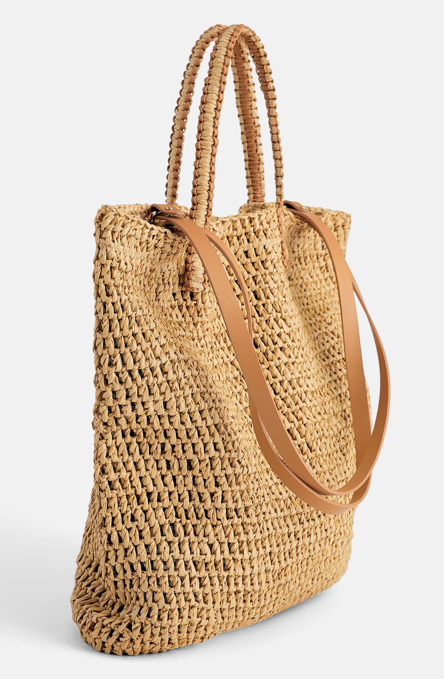taske, flettaske, strandtaske, shopper, shoppingtaske, sommer