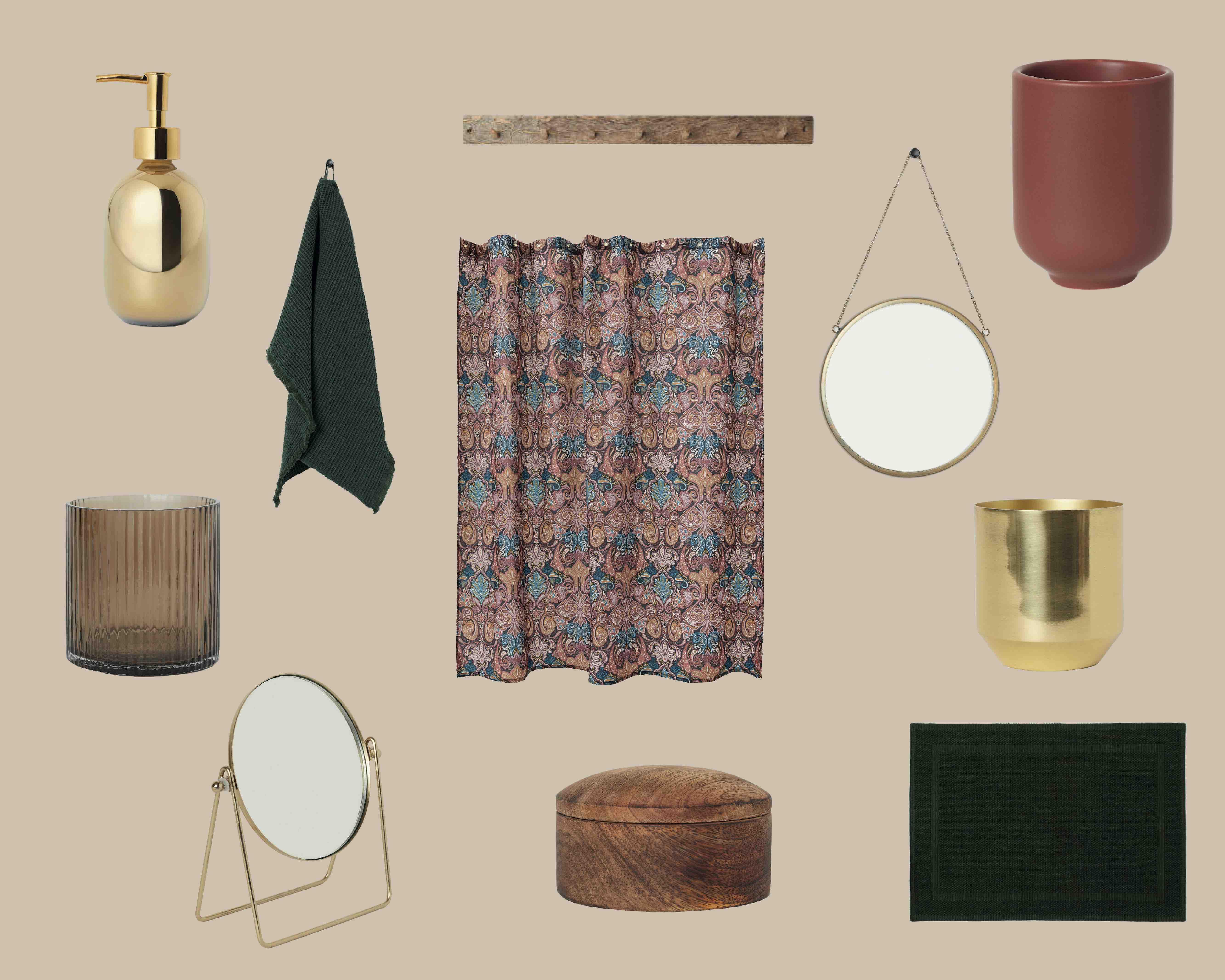 H&M, badeværelse, tilbehør, indretning, bolig, makeover, collage
