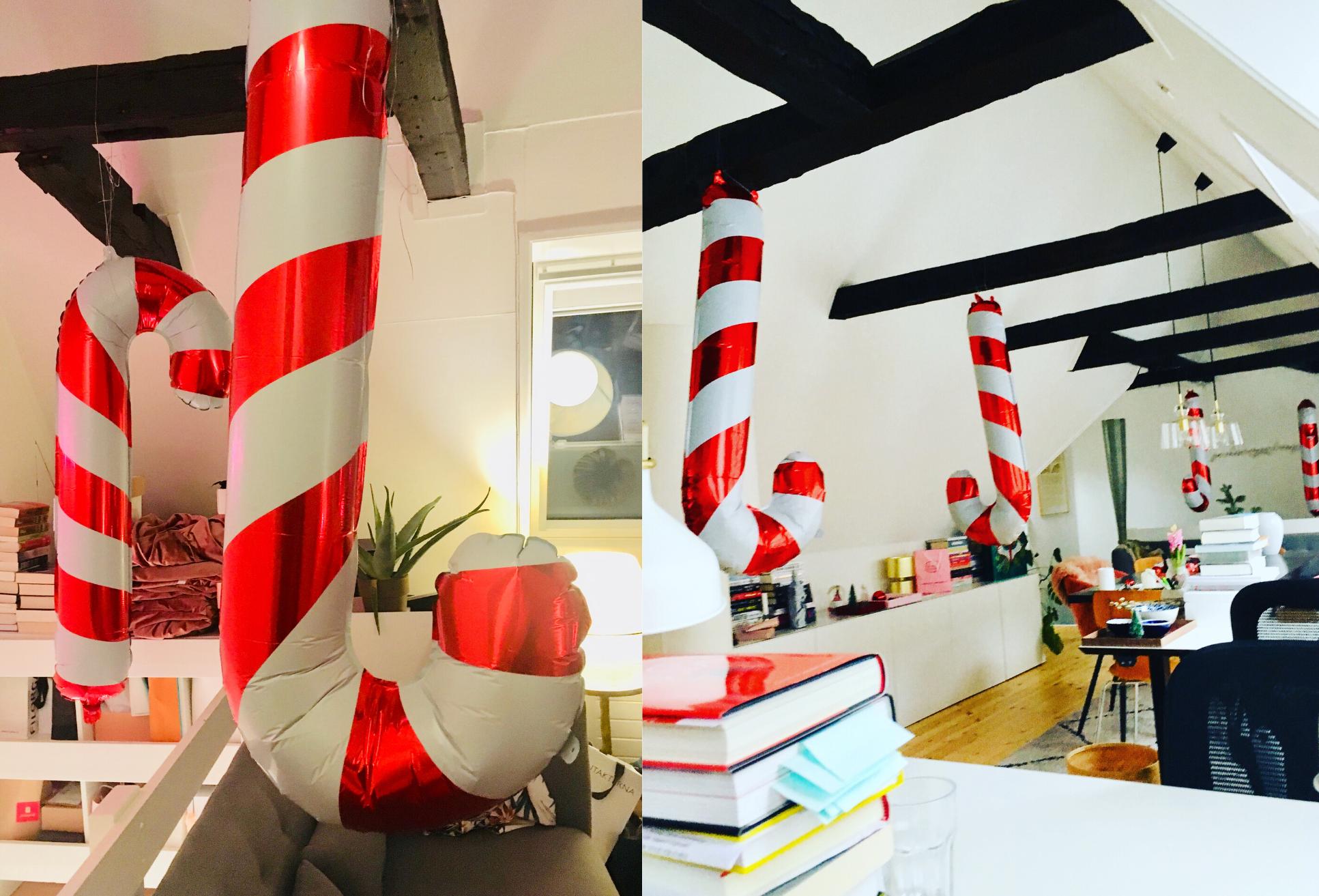 julestokke på kontoret, balloner, folieballoner (Foto: MY DAILY SPACE)