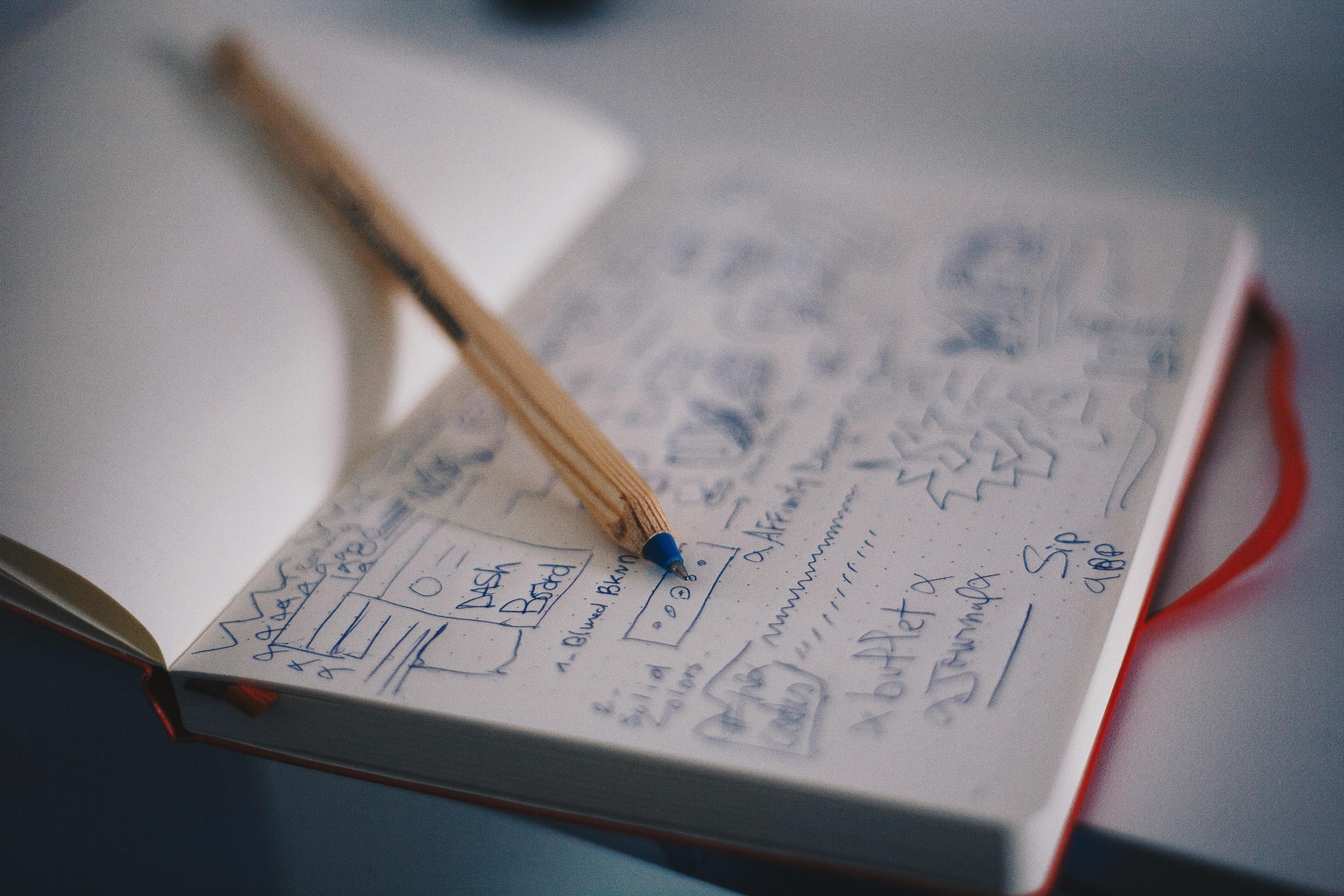 Innovation. Blok og papir. (Foto: Unsplash)