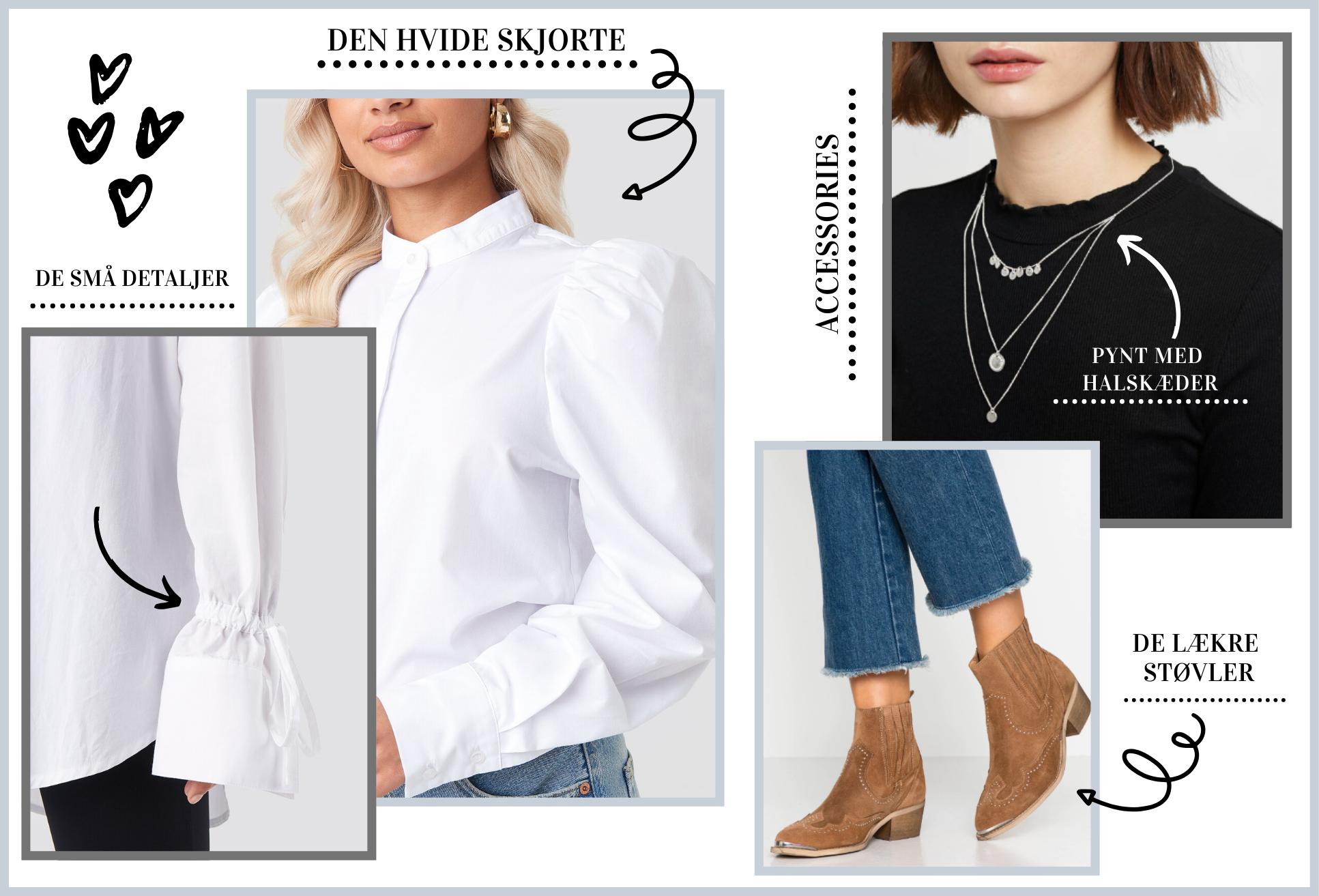 Collage, hvide skjorter, støvler, smykker, tip og tricks til at style veste. (Kollage: MY DAILY SPACE)