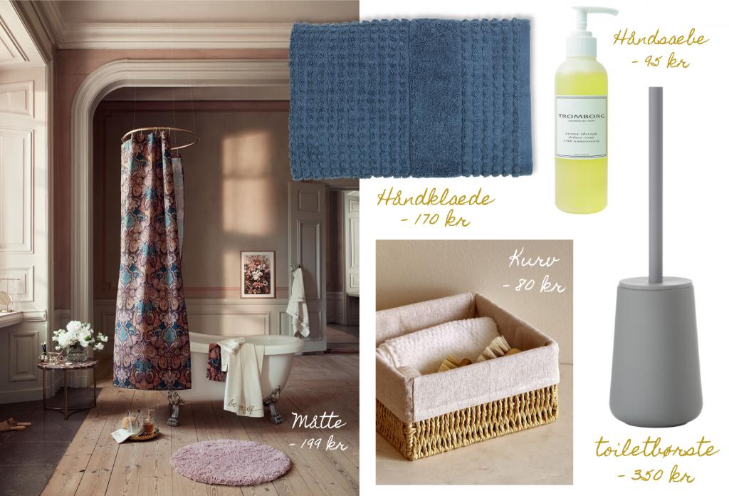 Ting til badeværelset, håndklæde, håndsæbe, toiletbørste, toiletkurv, kurv, måtte, badeværelsesmåtte, inspiration. (Kollage: MY DAILY SPACE)