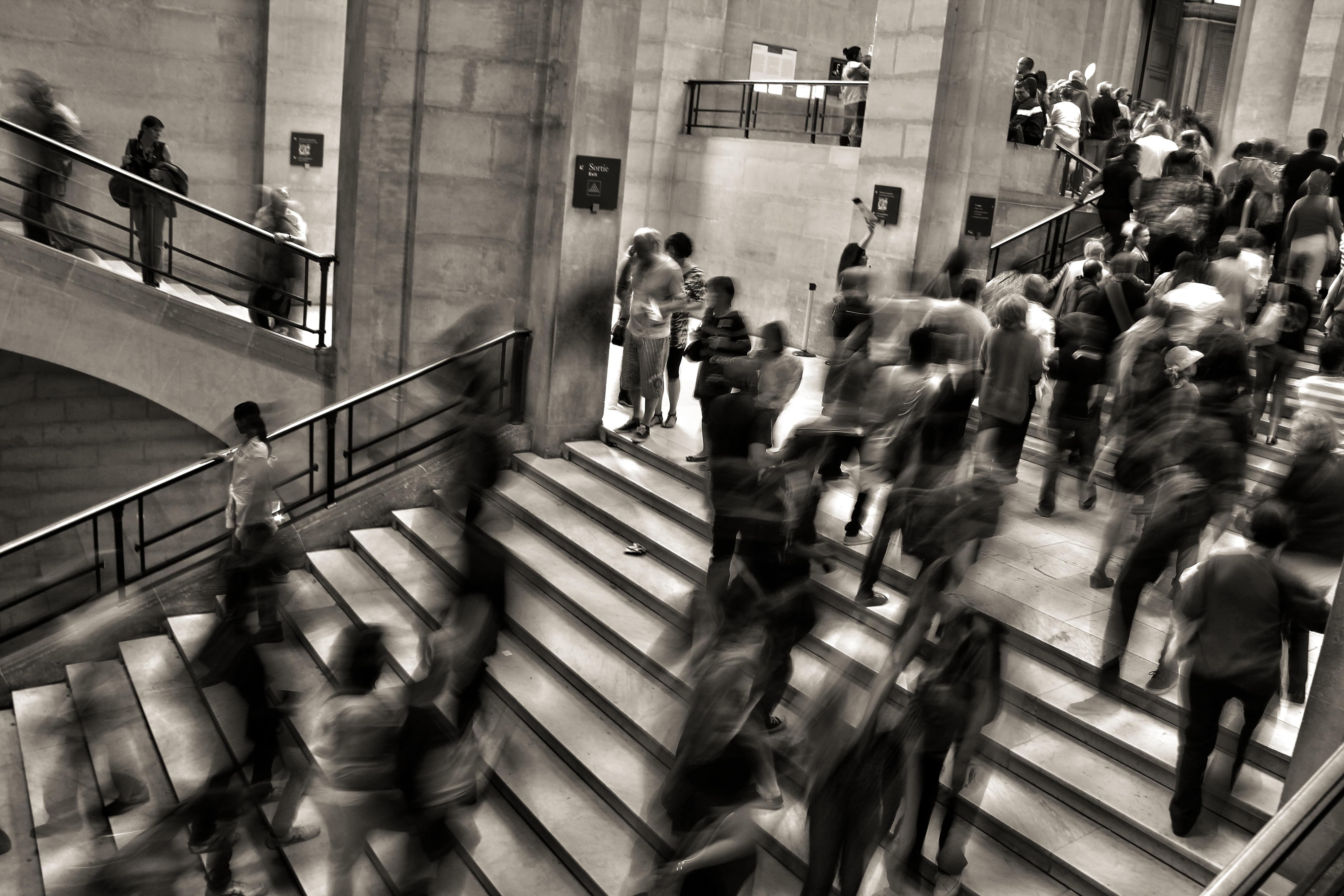 mennesker, trappe, skole