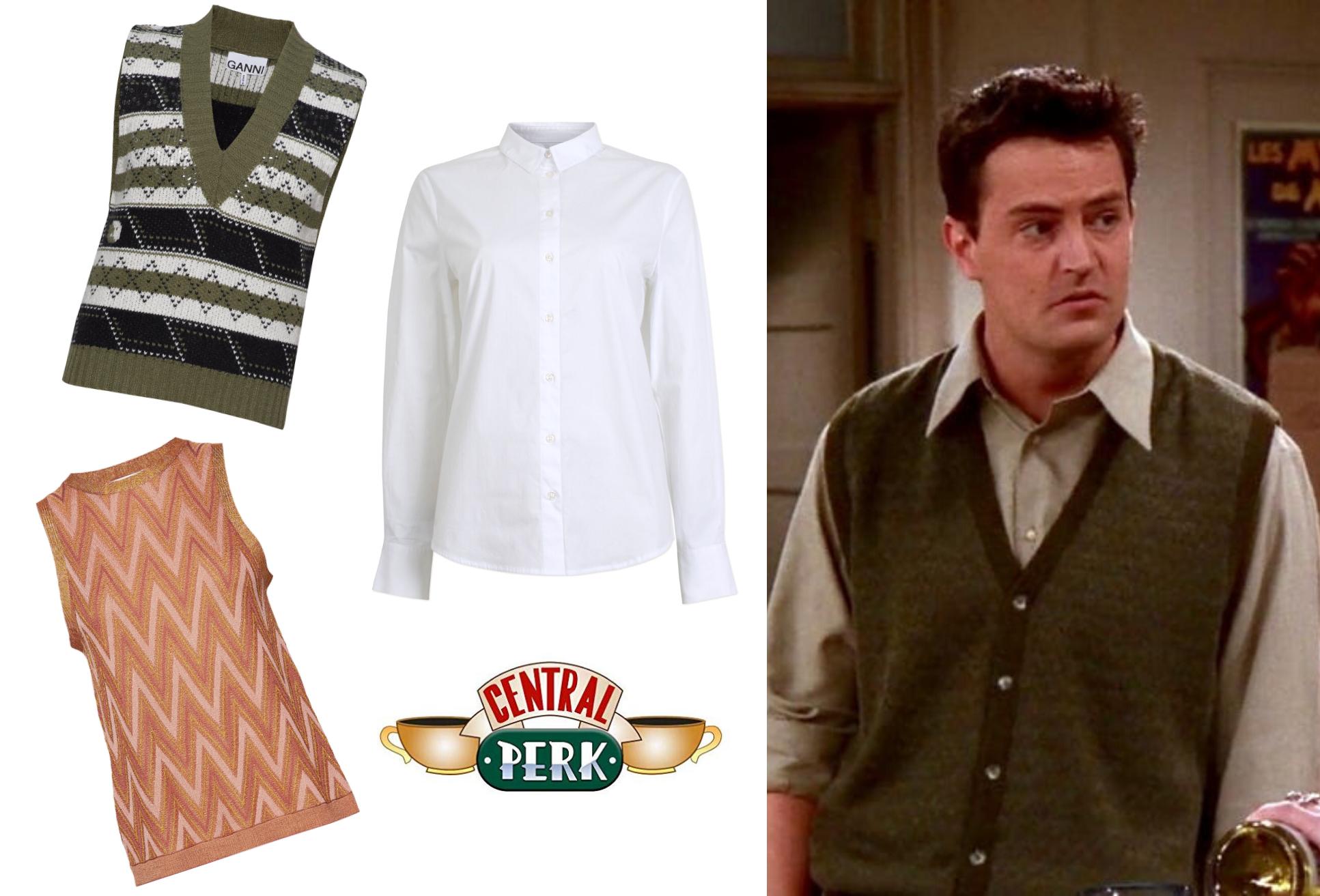 Chandler, inspiration, veste, skjorte, Friends. (Kollage: MY DAILY SPACE)
