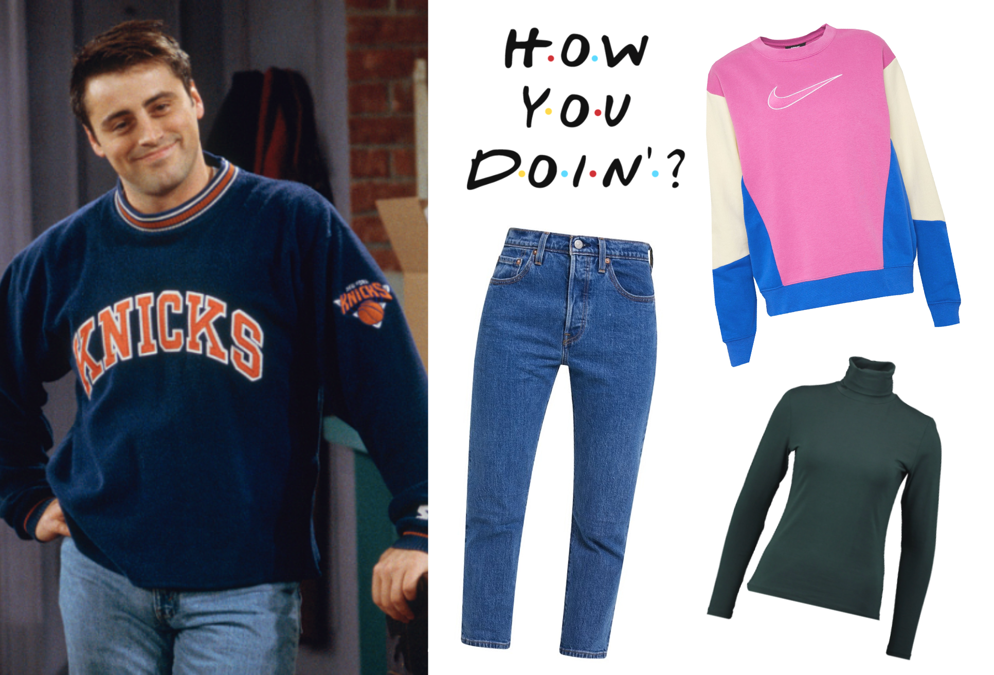 Joey, Friends, get the look, jeans, tøj. (Kollage: MY DAILY SPACE)