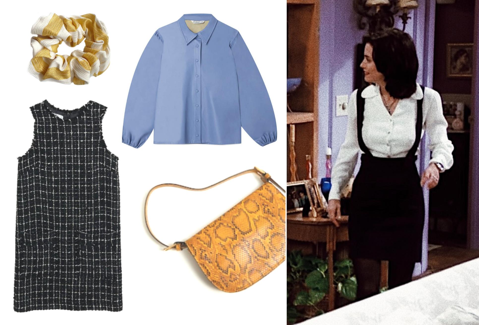 Monica, blå skjorte, taske, bag, kjole, hårpynt, inspiration, Friends. (Kollage: MY DAILY SPACE)