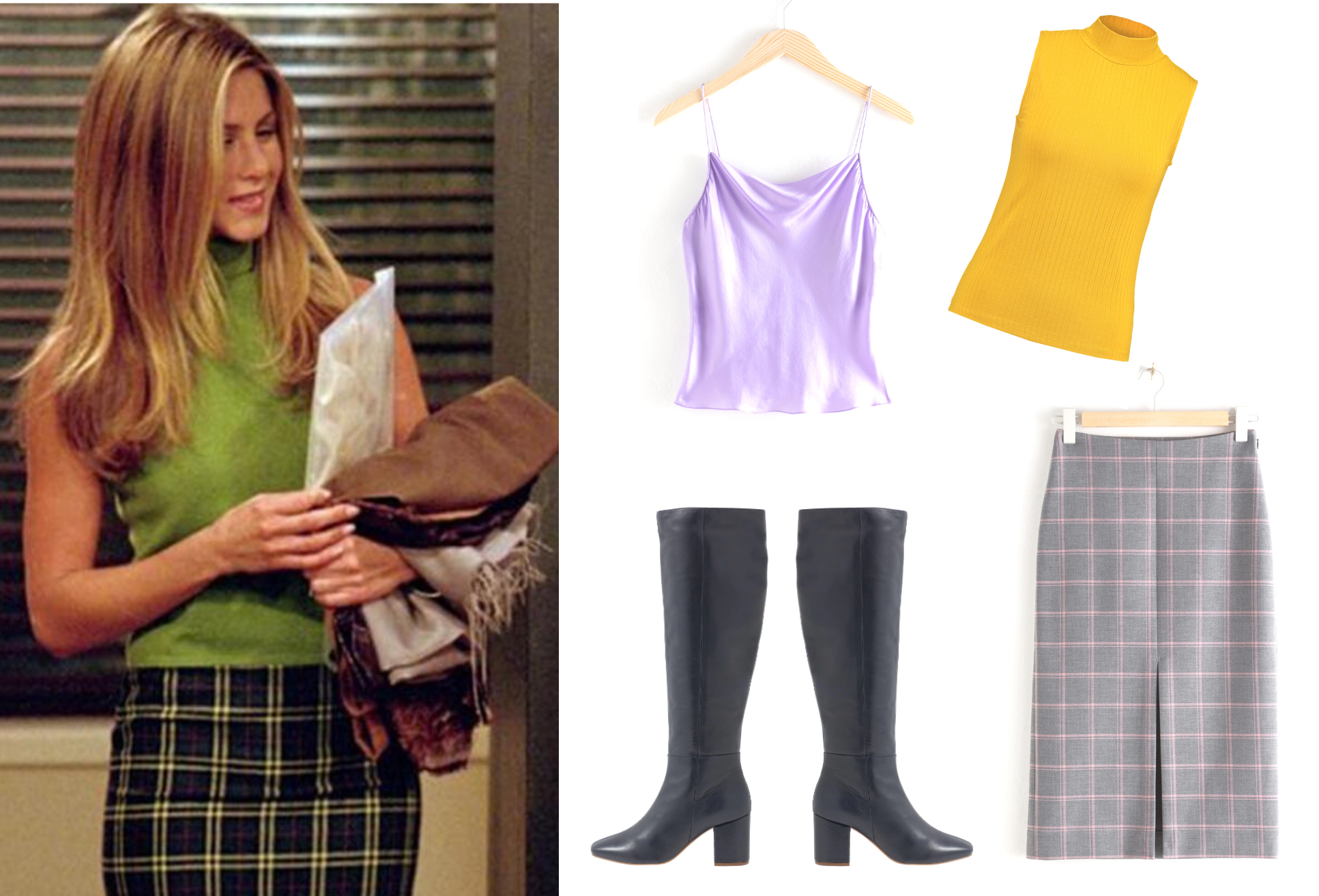 Rachel Green, fashion, tøj, Friends, tv-serie, inspiration. (Kollage: MY DAILY SPACE)