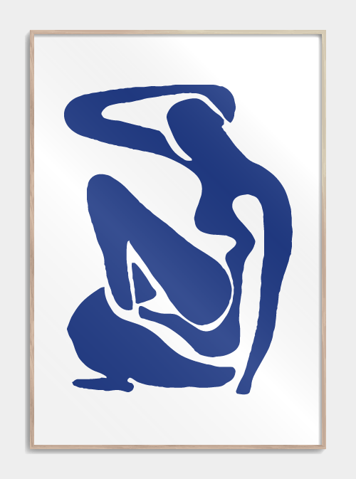 Blå plakat fra Citat plakat, kvinde, blå kvinde. Foto: Citat plakat)
