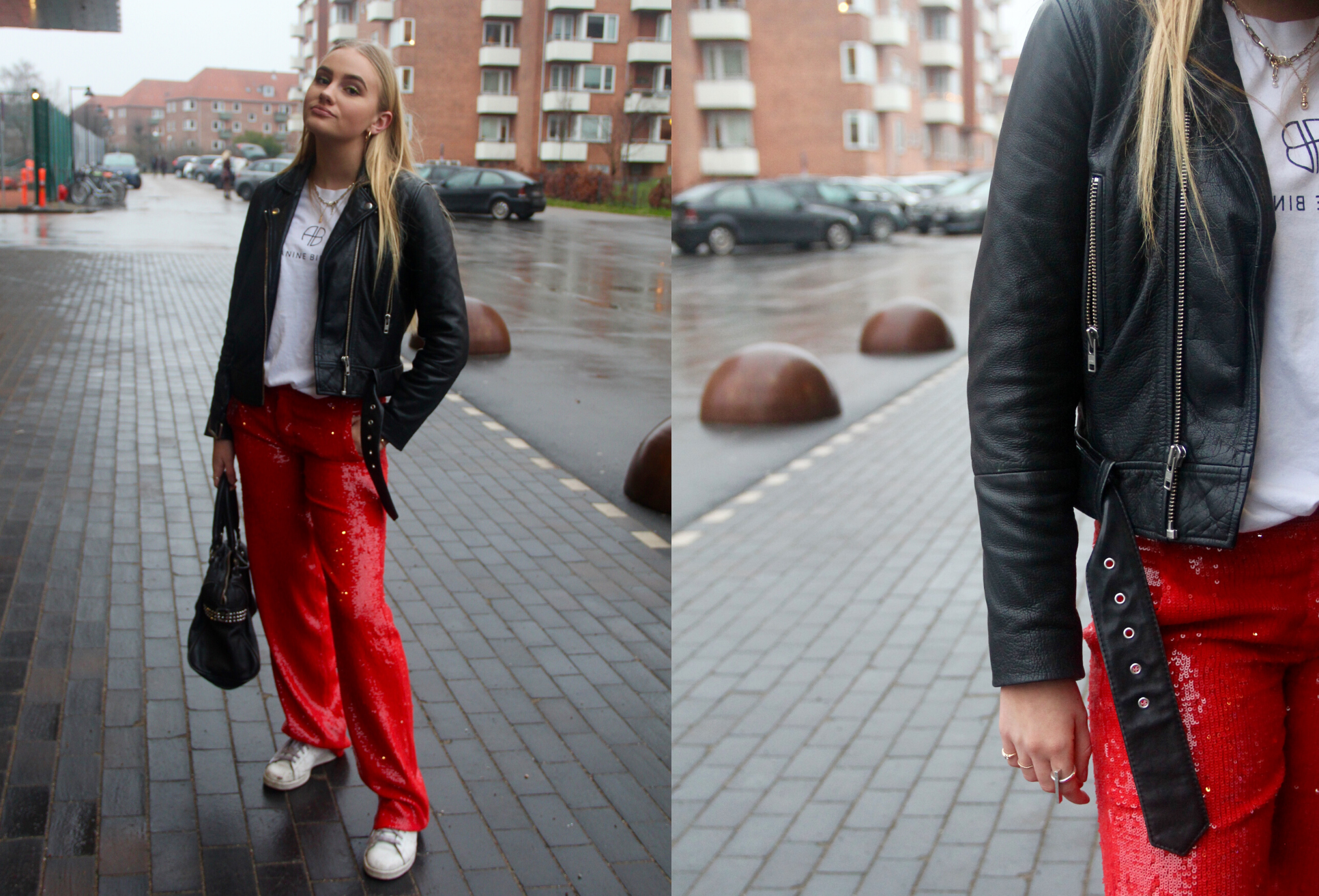 palliet bukser, rød, pige, fashion, fashion week, street style. (Foto: MY DAILY SPACE)