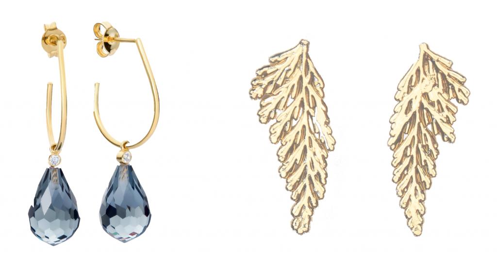 øreringe, guld, blå. (Kollage: MY DAILY SPACE)