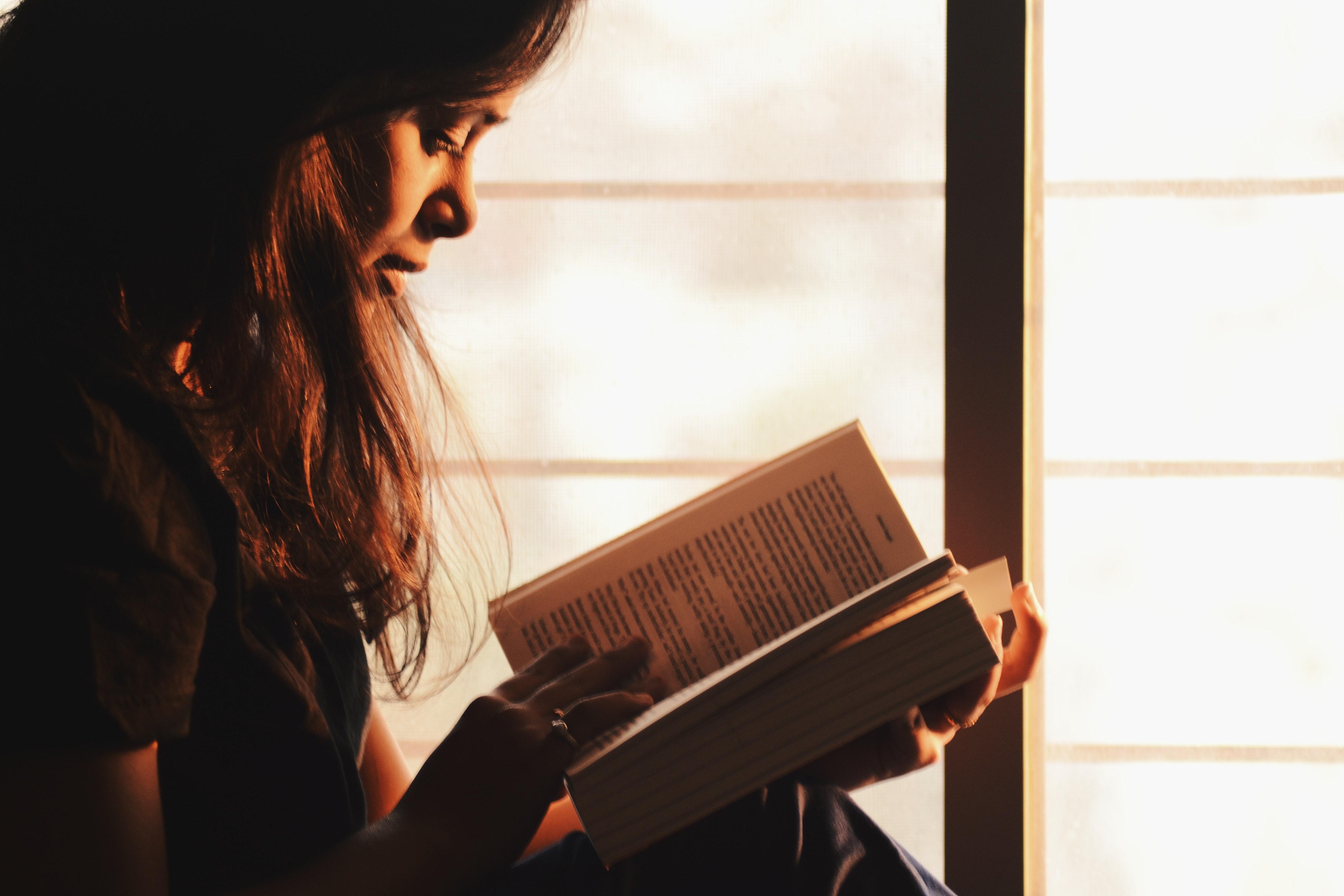 kvinde, læse, bog, reading
