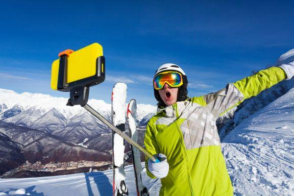 mobil selfie ski skitur vinterferie (Foto: Telia)