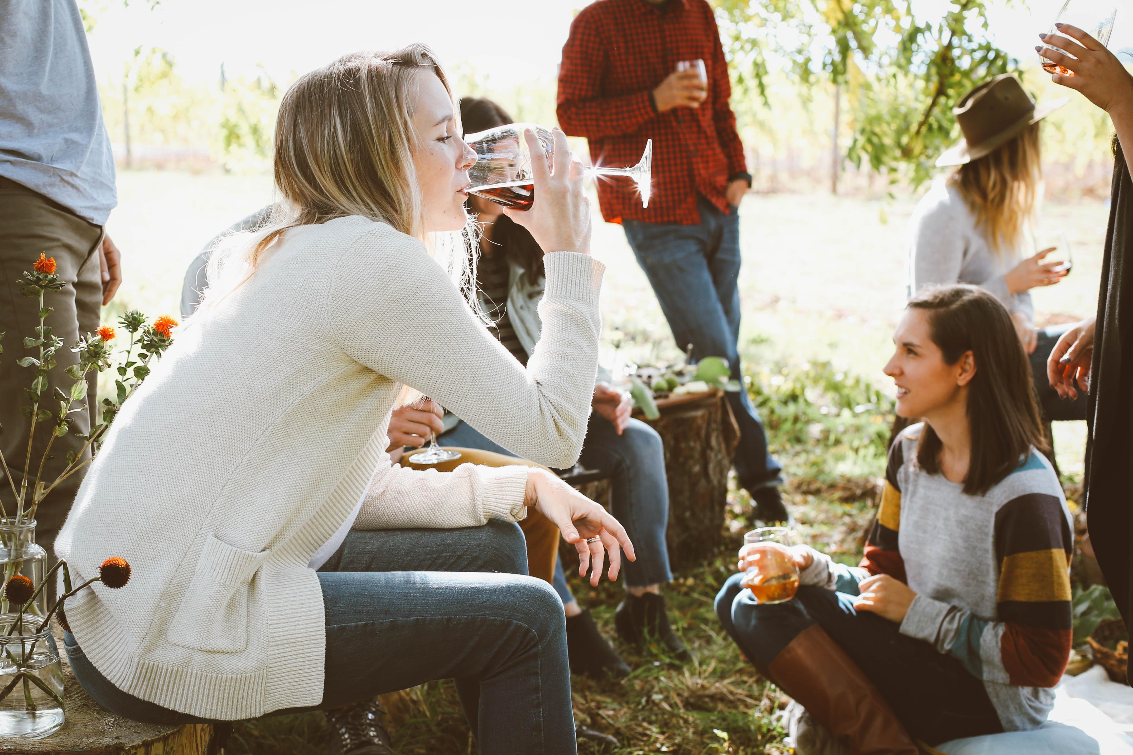 Madspild, venner, vin, hygge, skov. (Foto: Unsplash)