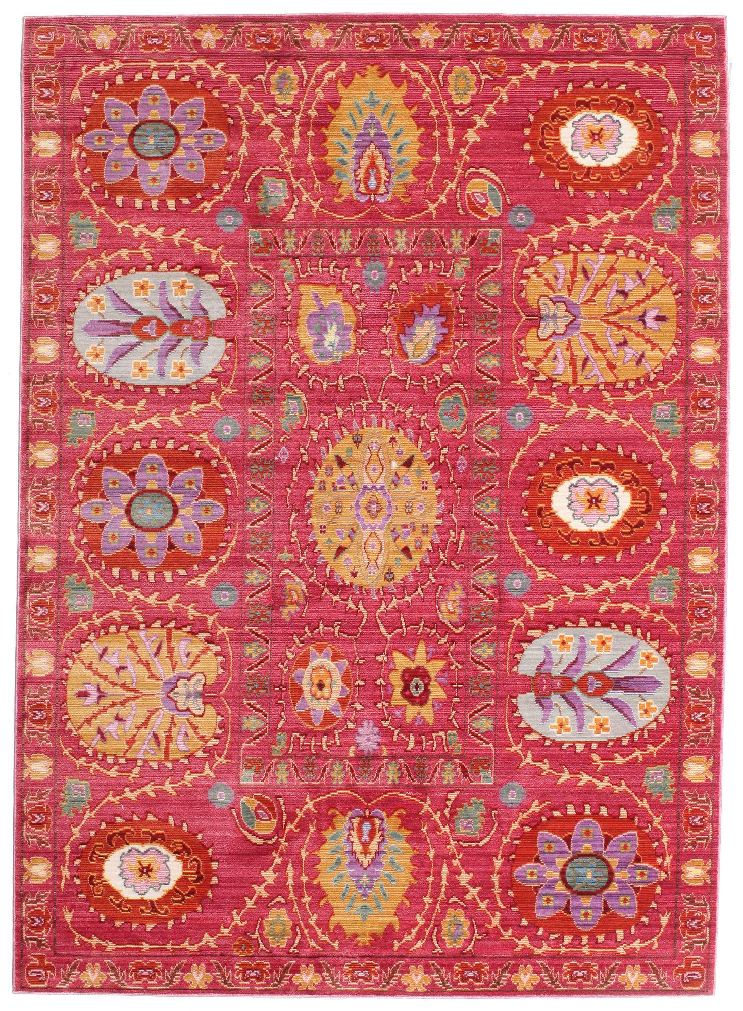 rødt tæppe med mønster, indian style, bolig, indretning. Foto: rugvista)