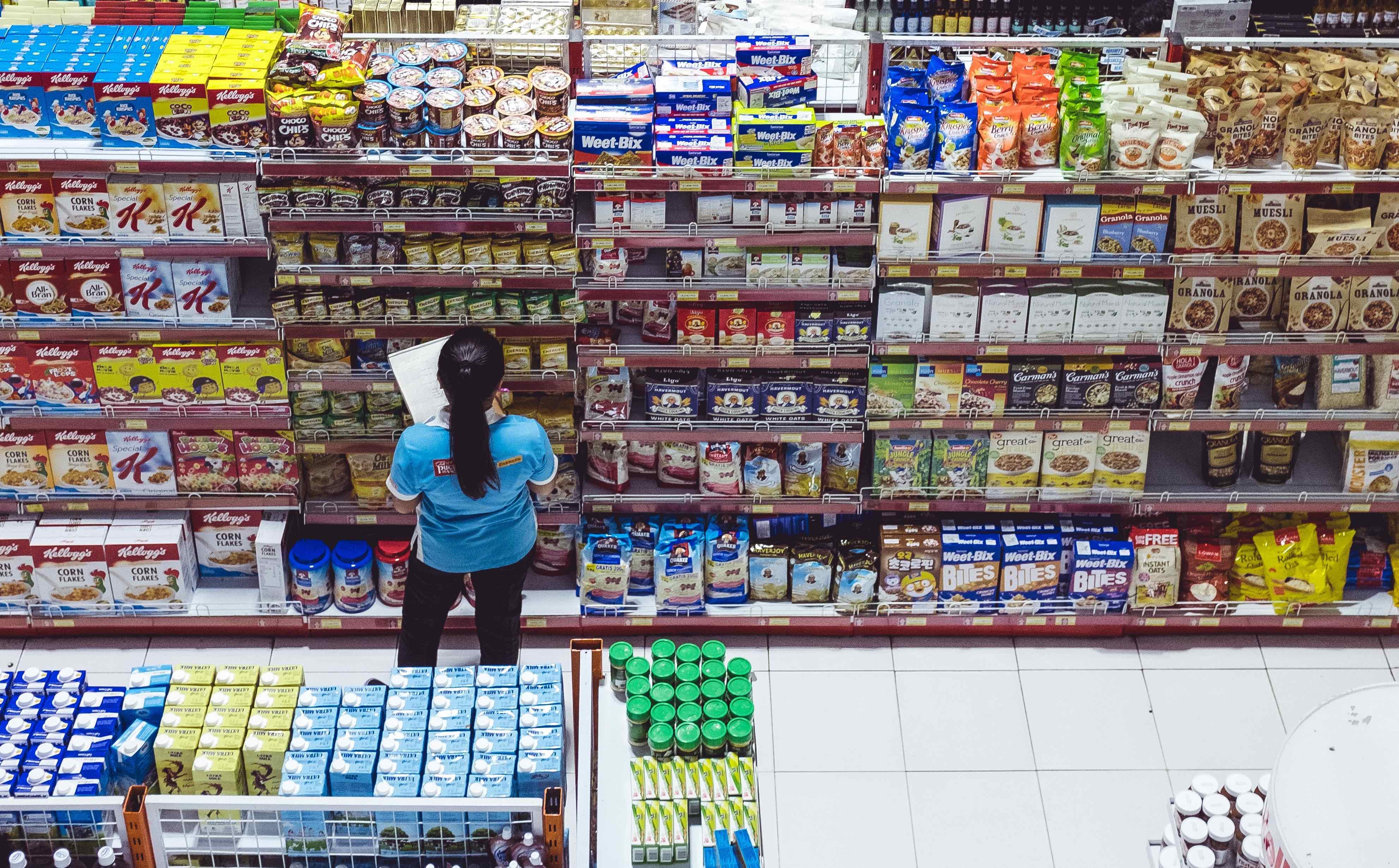 supermarked, hylder, varer