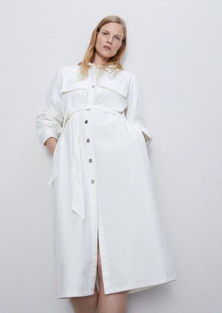 Hvid denim kjole, Zara. (Foto: PR)