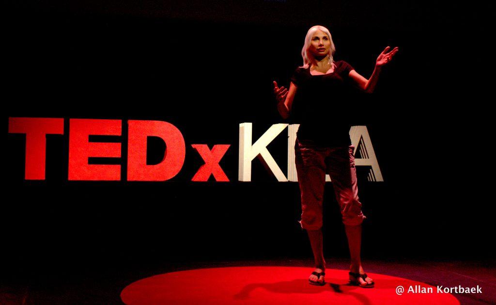 Selina Juul speaking at TED photo by Alan Kortbaek