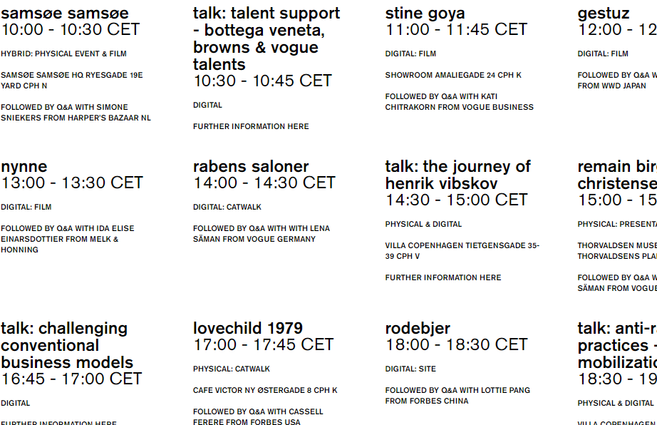 fashion week program cfw (Foto: Screen dump)