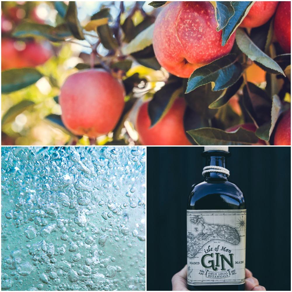 æbler, gin, dansk vand (Kollage med fotos fra Unplash: MY DAILY SPACE)